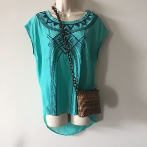Romantic teal popover embroidered boho top
